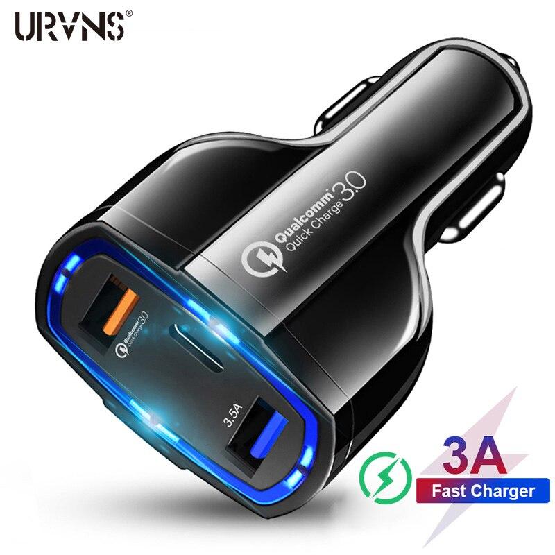 URVNS 3 порта 7A USB Автомобильное зарядное устройство Quick Charge 3,0 QC3.0 Type C быстрая зарядка автомобильное USB зарядное устройство для iPhone Xiaomi Мобильны...