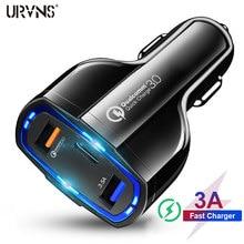 Urvns 3 portas 7a usb carregador de carro carga rápida 3.0 qc3.0 tipo c carregamento rápido carregador de carro usb para iphone xiaomi telefone móvel