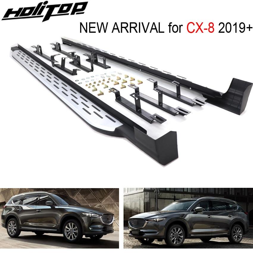Nova chegada nerf barra pé placa passo barra lateral pedais para mazda CX-8 2019 +, liga de alumínio pedal, oe modelo. verificado pelo mercado
