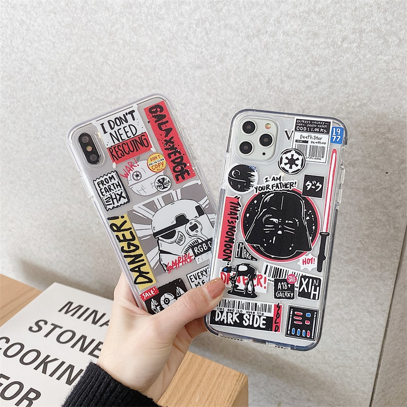 Cute Cartoon movie Star war Doodle label phone Case for iphone 11 Pro X XR XS MAX 7 8 Plus Funny Clear Soft Silicon cover coque image