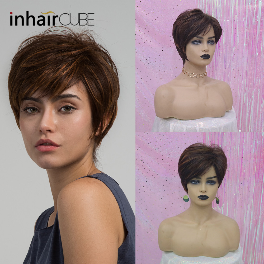 Inhaircube Synthetic Women Wigs with Natural Bangs Fluffy Layered Straight Blonde Highlights Heat Resistant Short Hair Wig