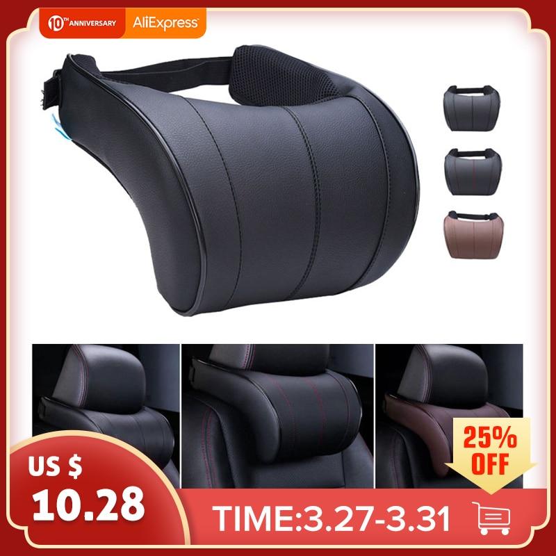 Auzan 1pcs PU Leather Auto Car Neck Pillow Memory Foam Pillows Neck Rest Seat Headrest Cushion Pad 3 Colors