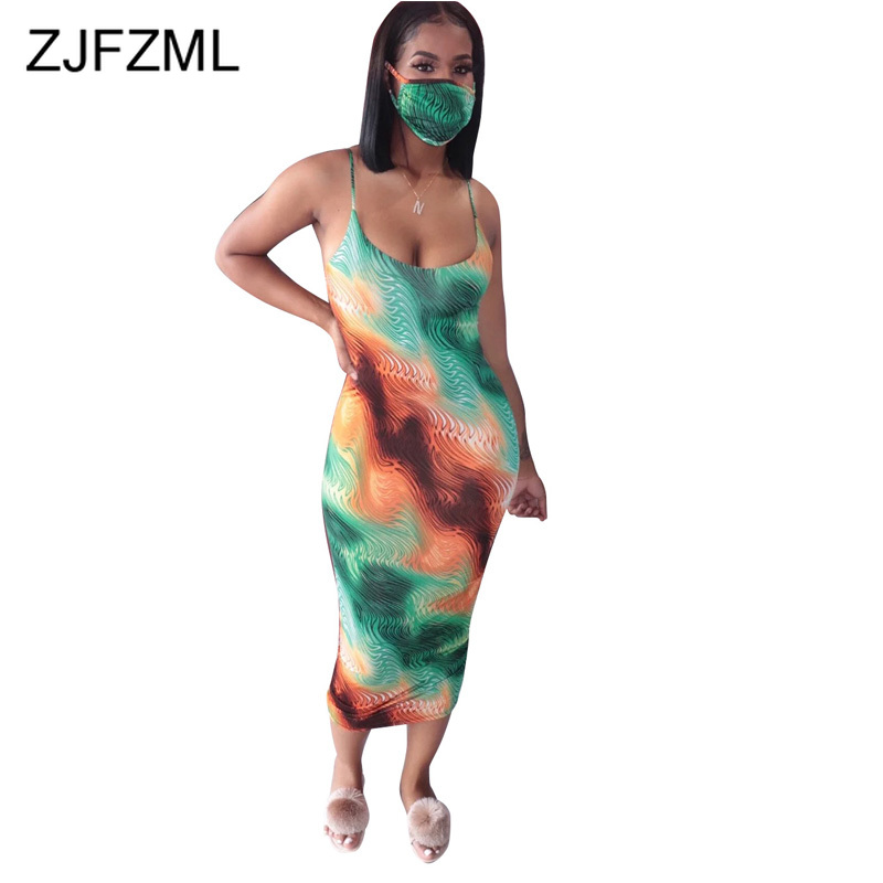Spaghetti Strap Sexy Party Club Dress For Women Flower Print Sleeveless Slim Dresses Summer O Neck Backless Pencil Dress No Mask