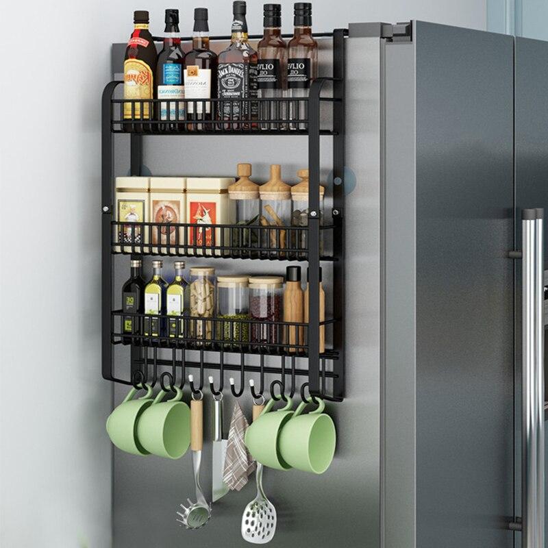 refrigerator side storage rack shelf cupboard organizer kitchen basket cabinet space saving refrigerator hanging storage rack