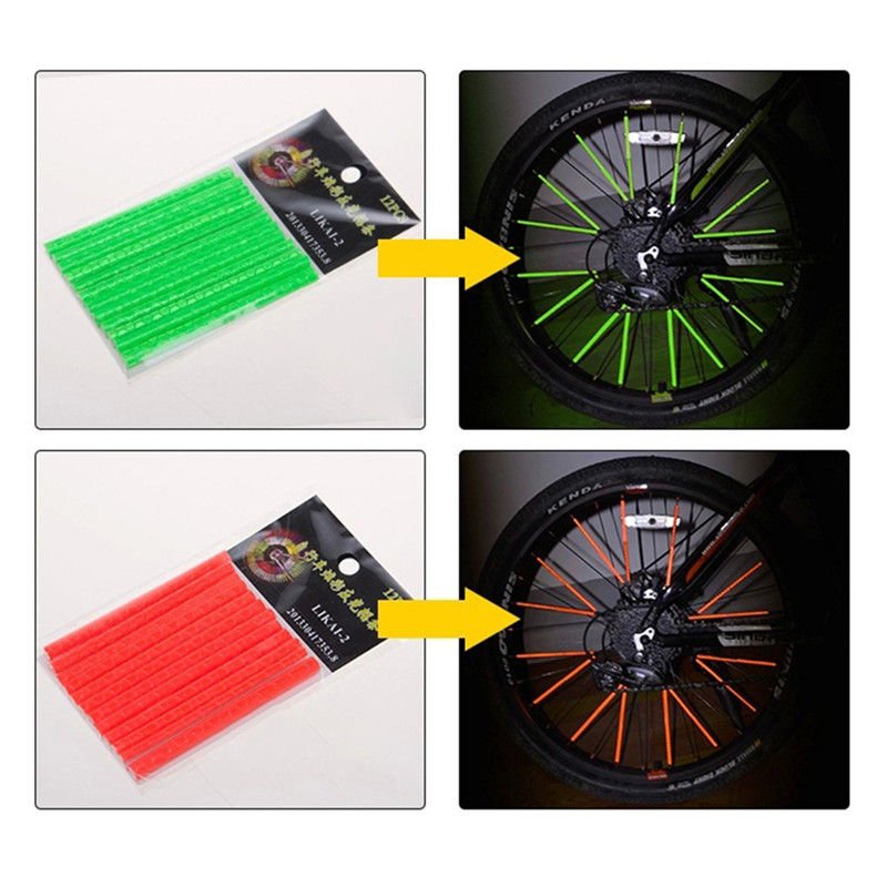 12 Pcs Bicycle Light Rim Radio Clip Light Tube Safety Warning Light Strip Safety Cycling Reflective Reflector Bike Accessories