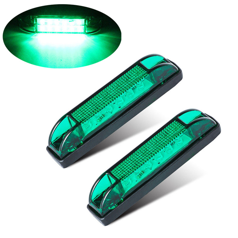 2PCS Trailer Lights LED Car Truck Side Light 6LED Truck Side Lights Marker Light Lamp Green Truck Lights 12v