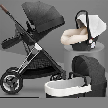 Sleeping Basket Type Baby Stroller Can Sit Reclining Light Folding Two-way High Landscape Newborn Baby Stroller Bed stroller can sit reclining light portable simple folding high landscape two way shock baby stroller