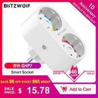 BlitzWolf BW-SHP7 16A 2 IN 1 Dual EU Stecker Smart WIFI Buchse Schalter Fernbedienung Schalter Timer Arbeit mit Google assistent/Alexa