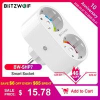BlitzWolf BW SHP7 16A 2 w 1 podwójna wtyczka ue inteligentne gniazdo wifi przełącznik pilota sterowanie wyłącznik czasowy praca z asystent google/Alexa w Inteligentny pilot zdalnego sterowania od Elektronika użytkowa na