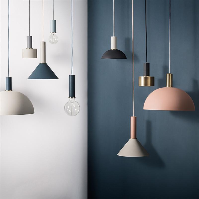 Nordic Colored Loft Iron LED Pendant Lamp Bar Restaurant Pendant Light Bedroom Bedside Lights Decor Lighting Luminaires Fixtures Pendant Lights     - title=