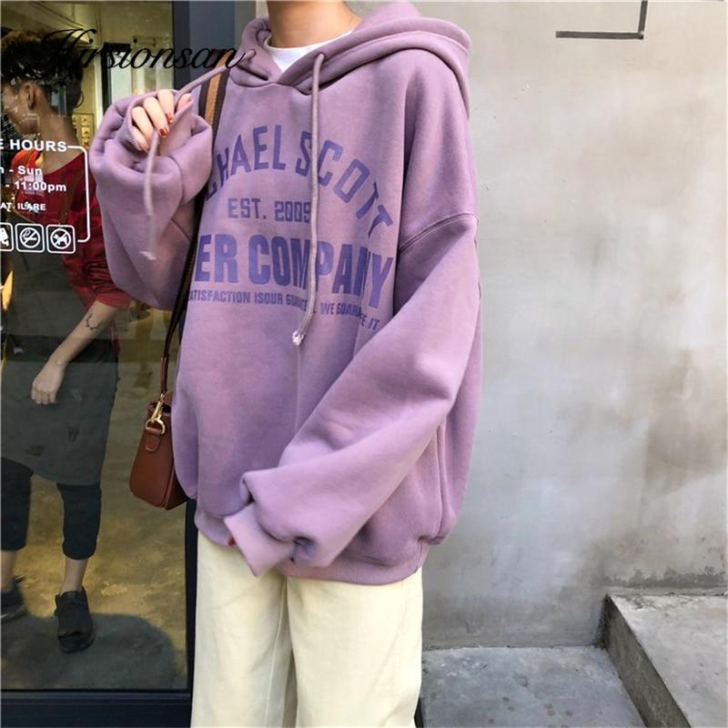 Hirsionsan Ins Sweatshirts Women Couple Hoodie Sweatshirt Lazy Harajuku Jumper Letter Print Gray Pullover Oversized Female Tops