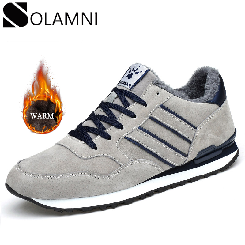 Mens Winter Sneakers Breathable Warm Fur Casual Shoes Male Genuine Leather Lace Up Flat Shoes Anti-Slip Waterproof Fit Sneakers
