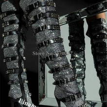 Женские пикантные блестящие украшение с бриллиантами и стразами ботфорты на шпильках черные Кристальные пояса с пряжками и заклепками сапоги на высоком каблуке