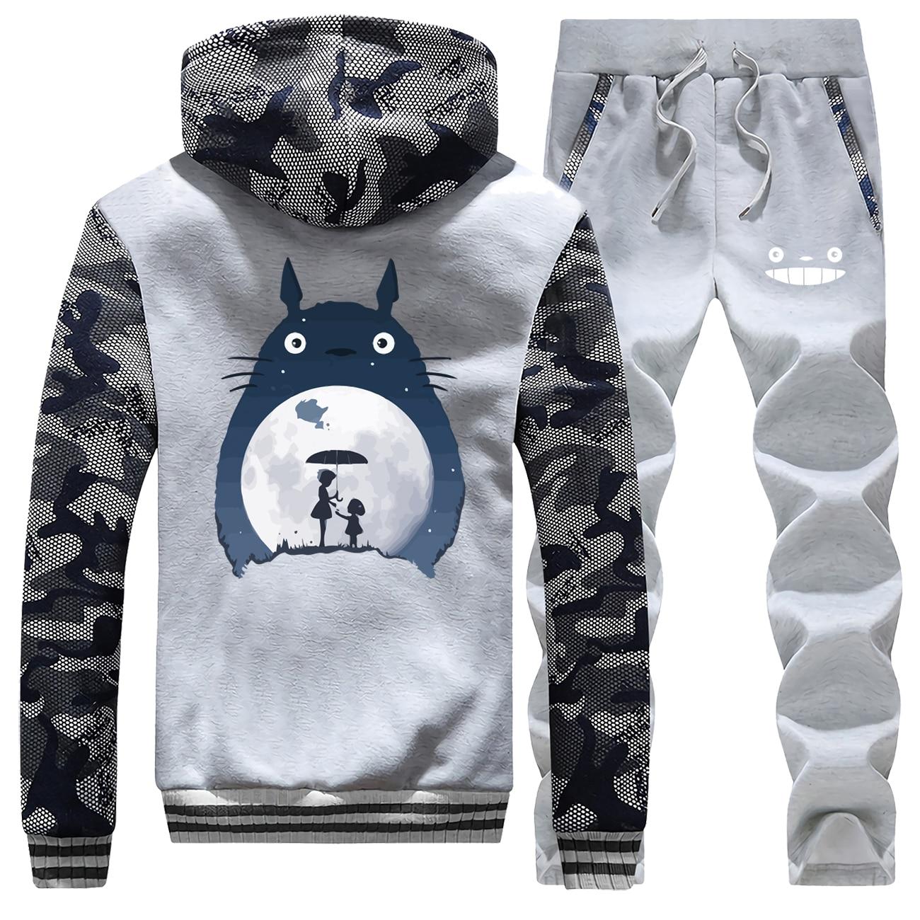 Japan Anime Camo Men Sets Tonari No Totoro Hoodies Pants Full Suit Tracksuit Thick Fleece Pants Sweatshirts Winter Set Sweatsuit