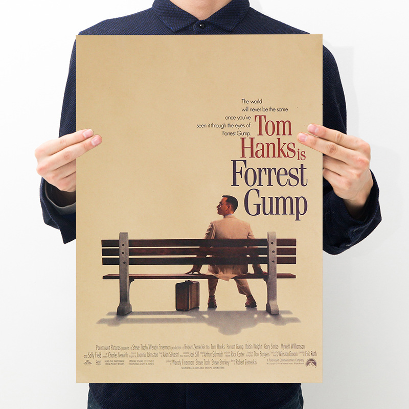 Forrest Gump movie poster room decoration retro character kraft paper series bar cafe decoration painting art wall sticker