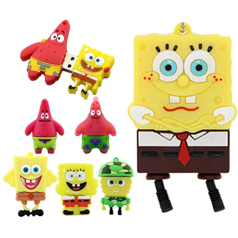 SpongeBob SquarePants / Patrick Star Flash Drive Usb2.0 32 128 256 64 8 4 16 Gb USB Pendrive Memory Stick 32GB Mini Gift U Disk