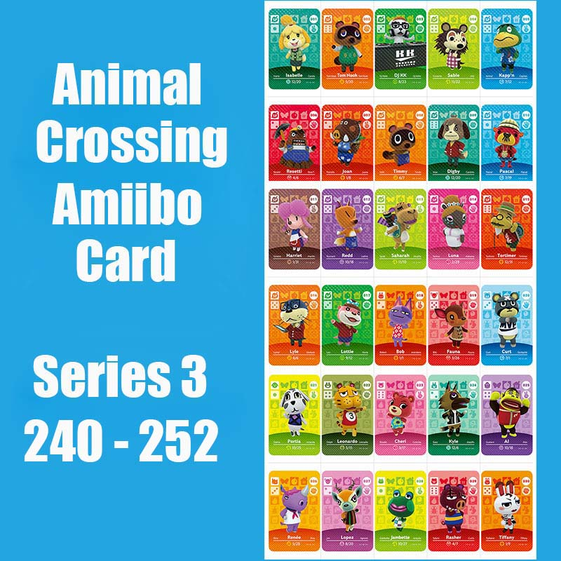 Series 3 (240 To 252) Animal Crossing Card Amiibo Cards Locks Nfc Card Work For Switch NS 3DS Games Series 3 (240 To 252)