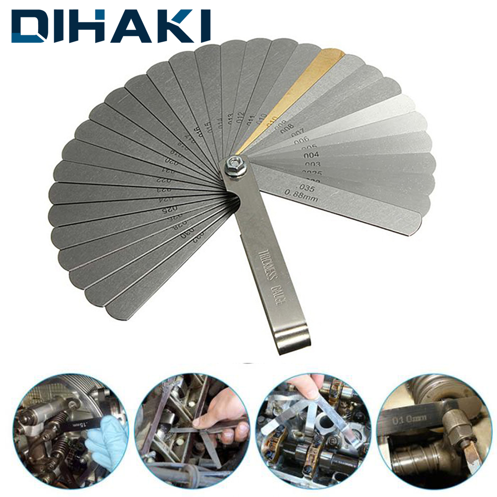 DIHAKI 32in 1 Thickness Gauge Feeler Gauge Metric Gap Filler 0.04-0.88mm Stainless Steel Foldable Measuring Tool