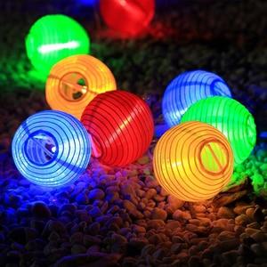 Image 2 - Solar Waterproof Nylon Round Chinese Paper Lanterns Birthday Wedding Decor Gift Craft DIY Lampion Hanging Ball Party Supplies