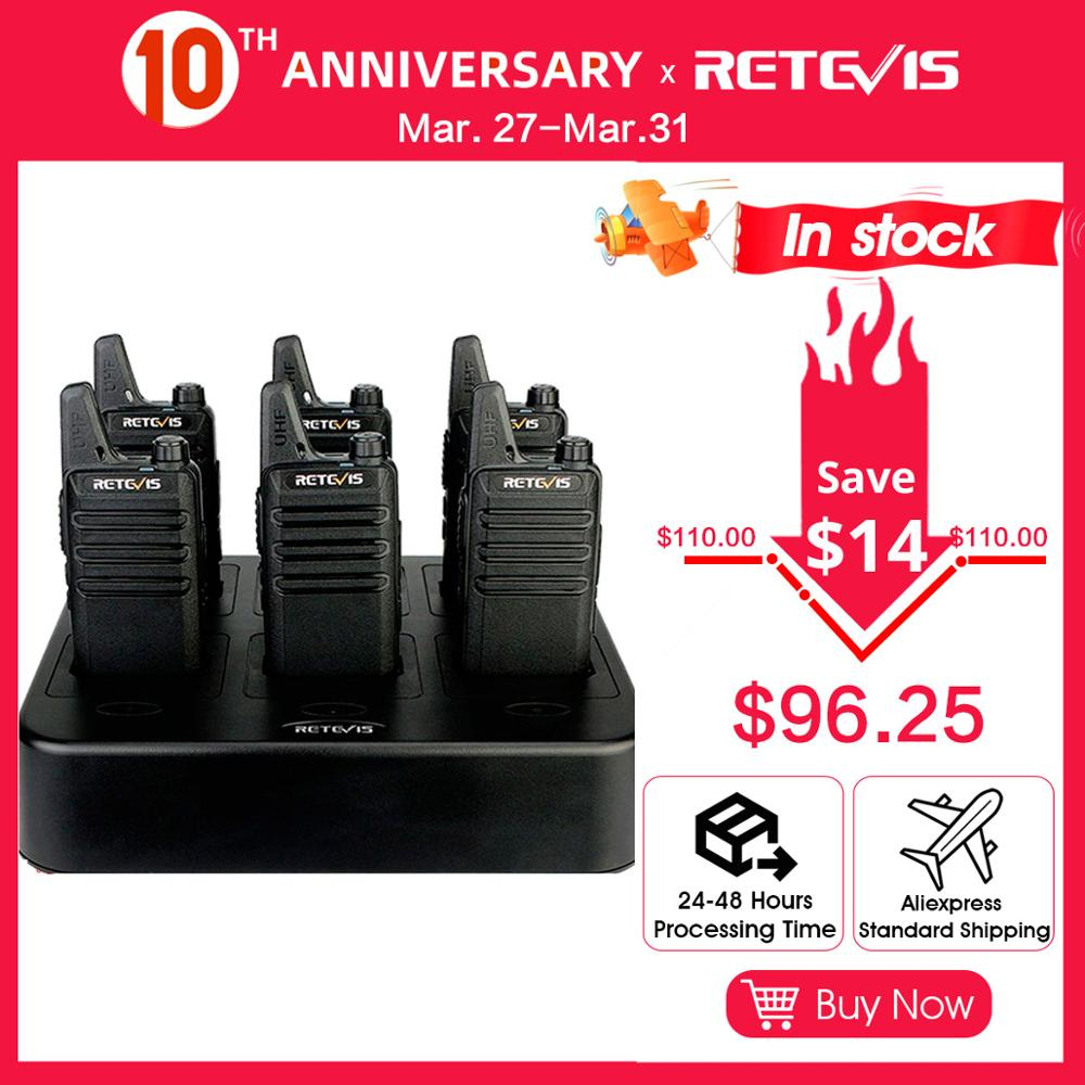 6pcs Retevis RT22 Mini Walkie Talkie 2W UHF Ratio Station Squelch Two Way Radio Portable With Six-Way Charger CTCSS/DCS VOX