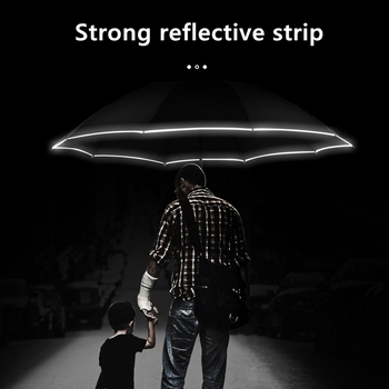 Automatic Umbrella With Reflective Stripe Reverse Led Light Umbrella Three Folding Inverted 10 Ribs Windproof Umbrellas Travel