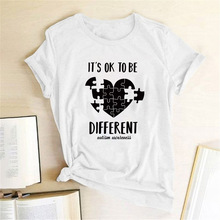It's OK TO BE DIFFERENT Letter Print T Shirt Women Short Sleeve Tee Shirt Female