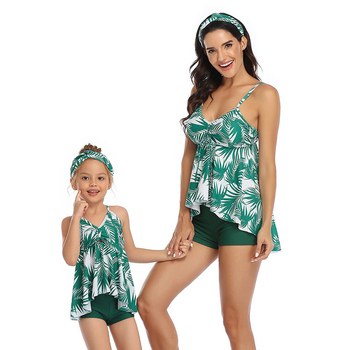 2020 New Weed Bikini Leaf Swimsuit Women Family Matching Outfits Look Mother Daughter Two Pieces Swimwear Swimming Bathing Suits oiyeefo 6 colors white diamond bikini luxury swimsuit swimwear female two pieces swimming suits for women beach may shiny plavky