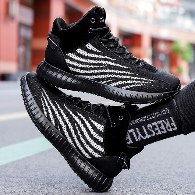 Fashion mens casual shoes flying woven breathable non slip shoes outdoor wear high shoes Zapatillas Hombre landing transport
