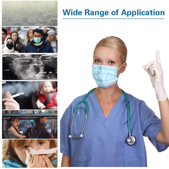 95  Face Mask 1 Pcs/Pack 3-Ply Single Use PM 2.5 Nonwoven 3 Layer Anti Pollution Virus Dust Flu Mouth MasksISO 5