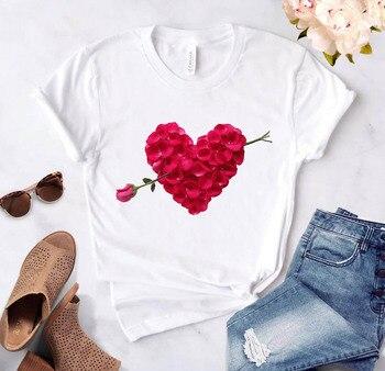 Camiseta con estampado de flores y corazón para mujer, remera informal para...