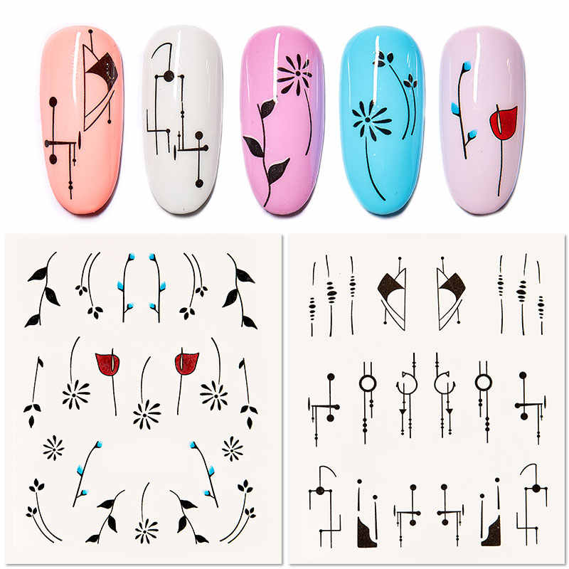 RBAN NAIL 1pcs Nail Water Transfer Sticker Linear Flower Pattern Nail Art Decorations Slider For Nail Manicure Watermark Foils