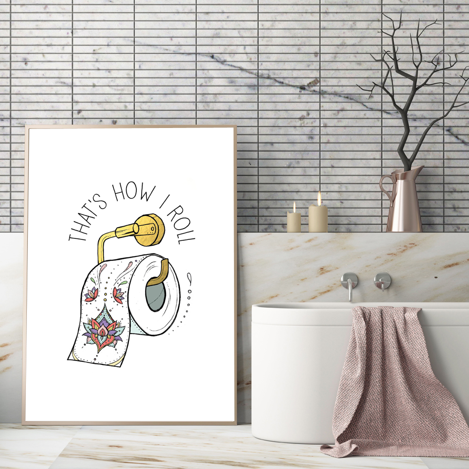 Canvas Painting Nordic Rolled Toilet Paper Picture Poster Print Modern Minimalism Buddhism Wall Art Pictures Bathroom Home Decor Calligraphy Aliexpress