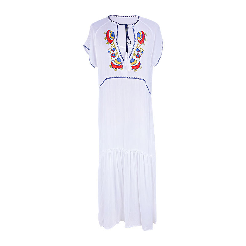 Embroidery Cotton Beach Cover up Tunic for Beach Bathing suit Women Cover up Sarong Pareo Beach Swim Cover up Beach Dress in Cover Ups from Sports Entertainment
