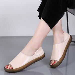 Image 5 - BEYARNEHandmade Sandalias planas de cuero genuino para mujer, zapatos casuales de verano, sandalias de gladiador para mujer, tamaño grande 35 43E045