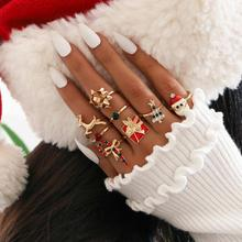 Children Christmas Tree Ornaments Cartoon Napkin Ring Snowman Elk Candy Cane Rings Set