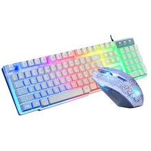 ПК игровая клавиатура мышь с pad usb Проводная 104 клавиши подсветка