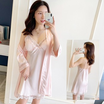 Chinese Style Bride Wedding Robe Sleepwear Rayon Twinset Set Kimono Gown Nightgown Lady Home Dress Lace Intimate Lingerie
