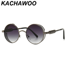 Kachawoo round sunglasses men black red metal steampunk sun glasses vintage styl