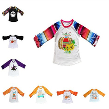 Fall Kids Baby Girl Boutique T-Shirt Ruffles Long Sleeve Halloween Child Costume Blouses Top Pumpkin Thanksgiving Raglan Clothes цены онлайн