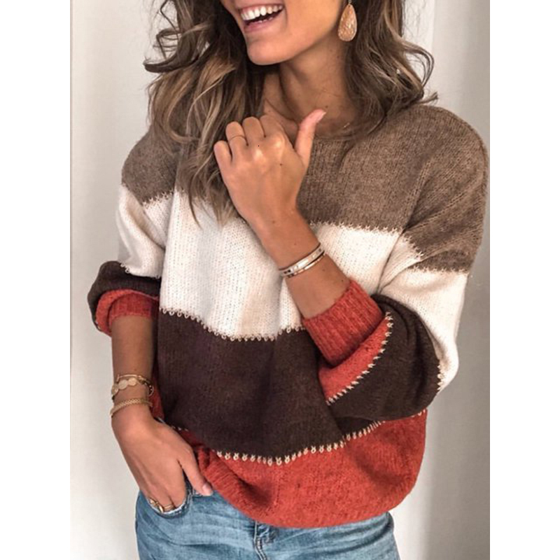 2019 Winter Warm Oversized Loose Women's Pants Wild Loose Casual Round Neck Sweater