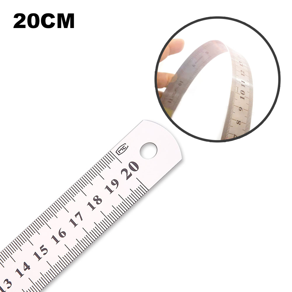 20cm 1PC Stainless Steel Straight Ruler Fine Inch  Centimeter Scale Office Student Drawing Line Tool High Precision Measurement