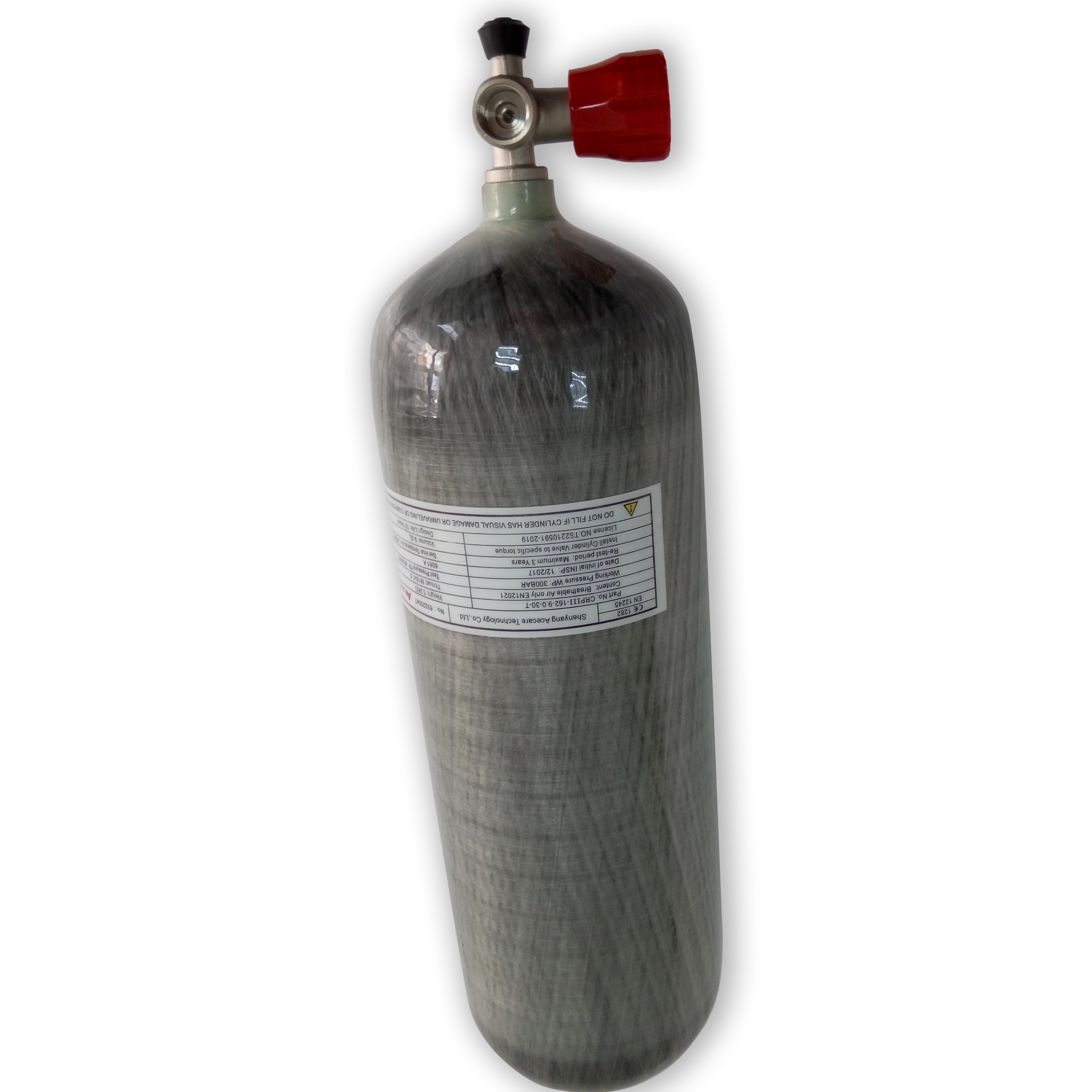 AC10911 Acecare Pcp Air Tank 9L Hpa 4500Psi M18*1.5 CE Cylinder Pcp For Paintball Paintball Equipment Red Gauge Valve Air Pcp