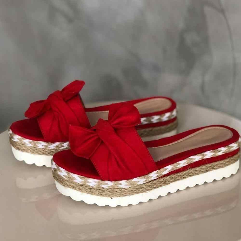 Женские шлепанцы; Летние сандалии с бантом; Шлепанцы с бантом на толстой подошве; Женская пляжная обувь на платформе с цветочным рисунком