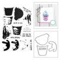 Новинка 2021, прозрачный штамп для торта и мороженого, металлические Вырубные штампы для творчества, творчества, слова, поздравительная откры...