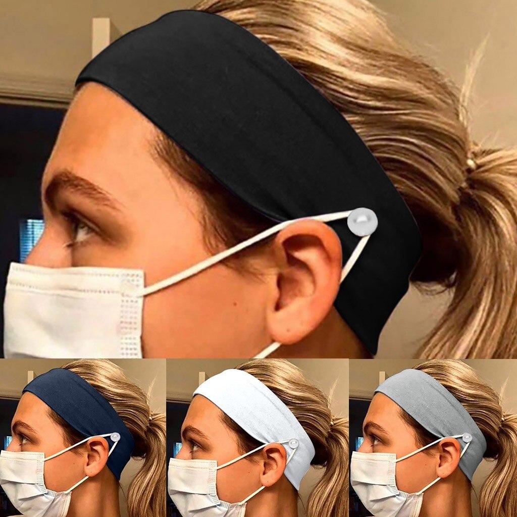 Повязка на голову для мужчин и женщин, эластичная лента для бега, с расслабляющими ушками, для взрослых, мужчин и женщин, с пуговицами|Мужские повязки| | АлиЭкспресс - Аксессуары для ношения маски без боли