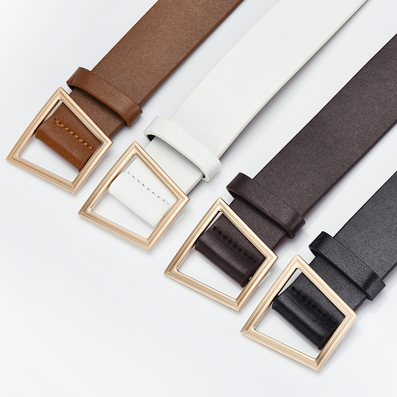 Square Pin Buckles Belt Female Deduction Side Gold Buckle Belts For Jeans Pu Leather Wild Belts For Women Students Waistbands
