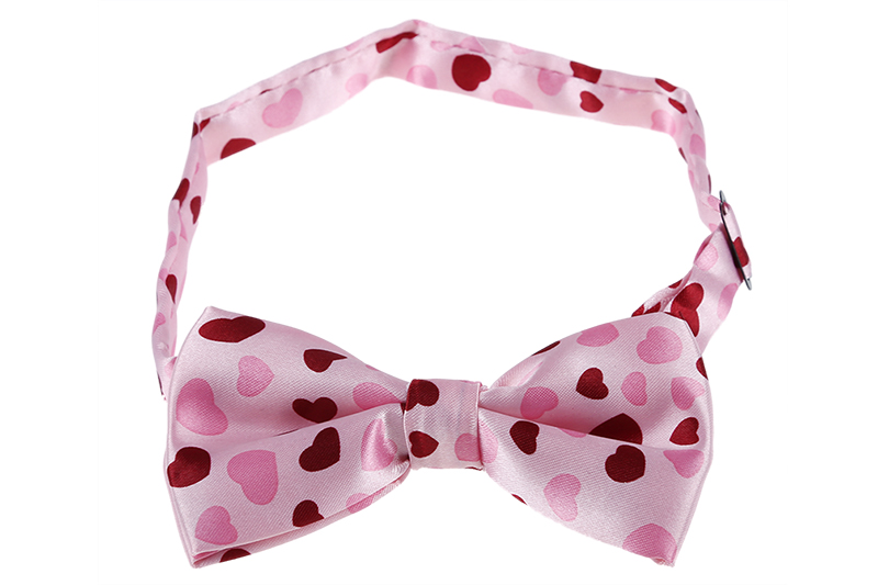Pink & Red Heart Pattern Bow Tie For Men