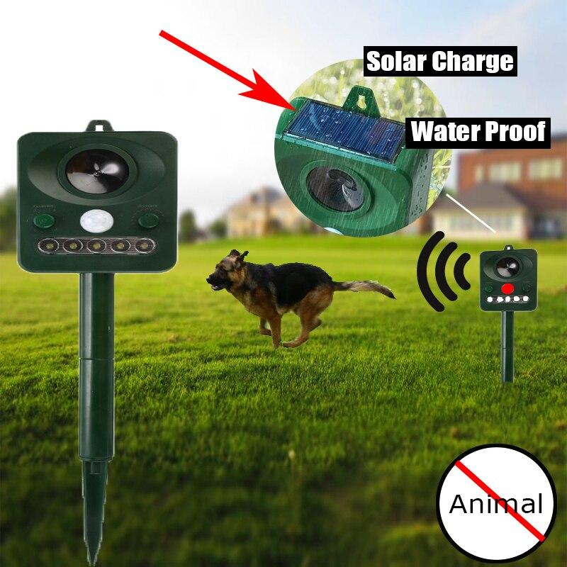 Solar Powered Ultrasonic Pest Animal Repeller Waterproof Outdoor Infrared Sensor Infrared Detector Rodent Control Garden Supply