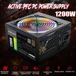 Power-Supply Computer Desktop PC 12v Atx SATA 1200W 8PIN Active with RGB Noise-Reduction