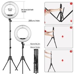 Image 4 - Travor 링 라이트 14 인치 링 램프 dimmable 콜드 및 따뜻한 빛 유튜브 메이크업 사진 ringlight 삼각대와 LED 라이트